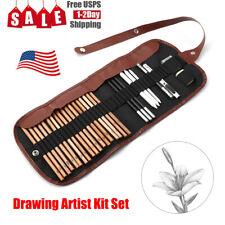 Sketch Drawing Pencils Set Art Supplies Artist Sketching Kit Canvas Roll Up Case