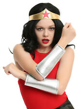 WONDER WOMAN ADULT Gold Crown Headpiece Tiara & Silver Arm Gauntlets Cuffs NWT