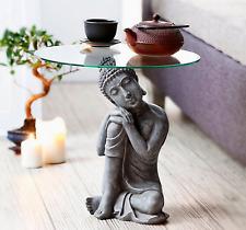 Beistelltisch Buddha Antik Couchtisch Deko Tisch Mit Glasplatte Asia Wohnzimmer