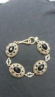 Lucky Brand Bracelet Gold tone Clasp Black stones / Glass UNIQUE