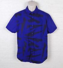 G by Guess Mens Button Front Shirt Size XL Royal Blue Black