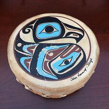 Odin Lonning Hand-Painted Eagle Tlingit Deerskin & Wood Hand Drum Haida Art