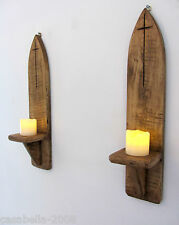 PAIR 45CM RECLAIMED WOOD RUSTIC GOTHIC / CHURCH WALL SCONCE LED CANDLE HOLDERS