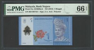 Malaysia One Ringgit ND(2012) P51a Uncirculated Graded 66