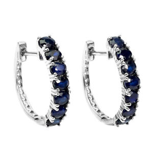 Oval Sapphire Diffusion 4x3mm 14K White Gold Plate 925 Sterling Silver Earrings