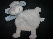 doudou plat mouton blanc écharpe spirale bleu NICOTOY (2 dispo)