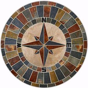 "48"" NATURAL SLATE Travertine Tile Compass Rose MOSAIC MEDALLION Triple Border"