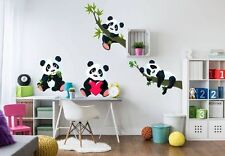 Wandtattoo Set XXL - 4 Pandabären  Kinderzimmer DekoTiere Bären Wandaufkleber