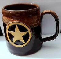 Deneen Pottery Handthrown Large Coffee Mug Brown Drip Glaze Lone Star 2012