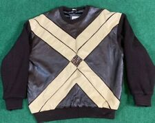 Vintage Manart Sweater Leather Brown Large 90s Excellent Condition