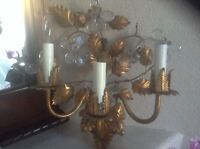 "Vintage Gilt Gold 3 Arm With Flowers Light Electric Wall Sconce Ornate 14"" x 14"""