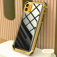 For iPhone 12 11 Pro Max XS XR 8 7 ShockProof Silicone Clear Plating Case Cover