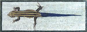 Lizard Gecko Striped Yellow Blue Tail Cute Reptile Decor Marble Mosaic