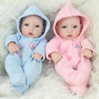 """10"""" Handmade Twins Baby Dolls Lifelike Full Vinyl Silicone Babies Boy Girl Gift"""