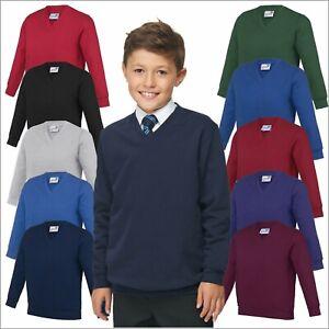 AWDis Kids Academy V-NECK Sweatshirt Soft Cotton Jersey Boys Girls School Jumper