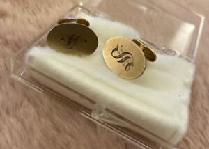 """Antique EL KAY 10K Yellow Gold Cufflinks. Engraved """"S"""".  3.88g. Family Pieces"""