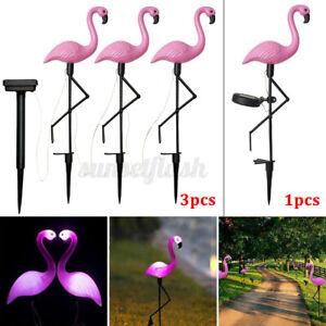 1/3pcs Solar Powered Flamingo Lawn Lamp Garden Outdoor Stake Landscape UK