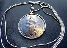 """French 1952 Polynesian Isles Five Franc Pendant on a 28"""" 925 Round Silver Chain"""