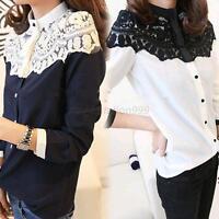 Womens Chiffon Lace Stand Collar Long SLeeve T-Shirt OL Slim Tops Blouse S M L