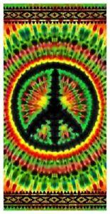 New Rasta Colors Tie Dye Peace Sign Bath Beach Pool Gift Towel Leopard Spots NWT