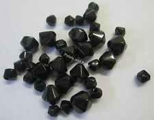 35 Black Glass Bicone Beads 4mm 6mm & 8mm Bead For Beading & Jewellery TAR207