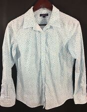 Lands' End Women's Shirt 10-12 Fitted Blue White Button Down Floral Tunic