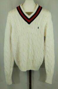 Polo Ralph Lauren Mens White Cotton Long Sleeve Sweater Size Medium