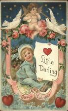 Valentine - Sweet Little Boy & Cherub Stars in Sky c1910 Postcard