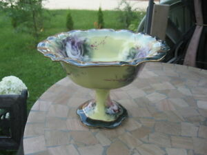 "NICE COMPOT VASE BOWL VICTORIA WARE footed 7.75"" IN tall"