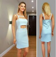 BOOHOO DRESS SIZE 12 LIGHT BLUE STRETCH STRAPPY BODYCON PARTY MINI #4101
