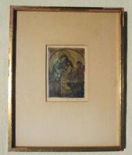KNUTE HELDNER HAND PAINTED ETCHING Holy Family SIGNED FRAMED Manger Scene
