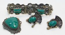 Onyx Mayan Style Jewelry Beautiful Set Signed Mexican 925 Sterling Silver Green