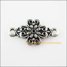 12 New Flowers Charms Tibetan Silver Connectors Pendants DIY 13.5x25.5mm