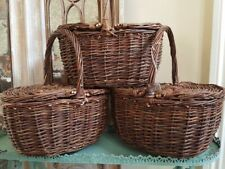NEW French Shabby Chic Wicker Willow Storage Hamper Picnic Basket Lid Handle
