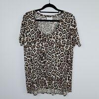 Witchery Women's T Shirt Leopard Print Jersey Scoop Neck Size M
