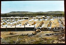 ANTIQUE Magic Lantern Slide COMPOUND WITH NATIVE HUTS C1920 PHOTO AFRICAN AFRICA