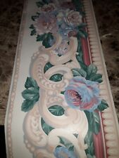 """New listing Vintage floral wallpaper roll 9"""" w x5"""" roll"""