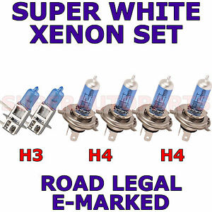 FITS NISSAN BLUE_BIRD 1986-1991 SET OF H4 H3 XENON SUPER WHITE LIGHT BULBS