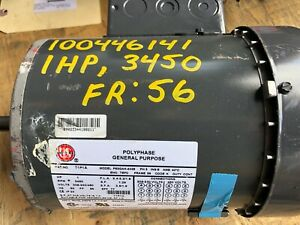 US Motors Unimount TEFC T1P1A, 3-Phase, 1 HP, Unimount, 3450 RPM 56 NEW