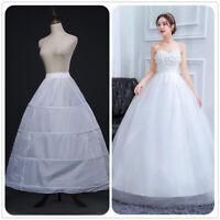 3 Hoops Wedding Bridal Petticoat A Line Underskirt Skirt White Crinoline Slip ❤