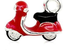 LOVELY RED & SILVER MOBILITY ELECTRIC SCOOTER CLIP ON CHARM- 3D - B - S/PLATE