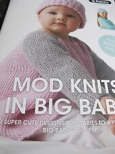 PATONS KNITTING BOOK,NEW,NO 1105,MOD KNITS IN BIG BABY 4/8 PLY,BABY TO 4 YEARS