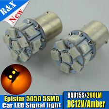 2PCS 12 SMD 5050 LED 581 BAU15S PY21W Bombillas Indicador Ámbar Naranja DC12V 260 LM
