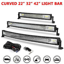 """22"""" 32"""" 42"""" Curved LED Work Light Bar Combo Remote Control Wiring Offroad SUV"""