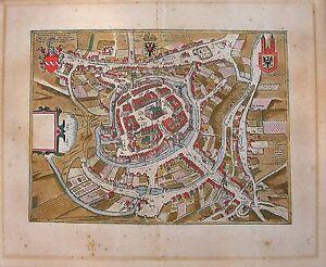 ANTIQUE MAP SWYBUSCHIN (SCHWIEBUS, SWIEBODZIN) CIVITAES ORBIS TERRARUM 1598