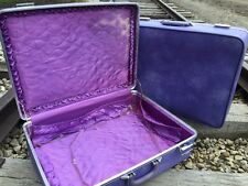 """Set of 2 Mid Century Modern Invicta Luggage Suitcase Cases in Violet - 24"""" & 26"""""""