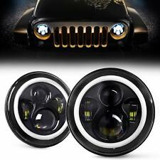 "For Jeep Wrangler CJ JK LJ 97-18 2pcs 7"" INCH 280W LED Headlights Halo Angle Eye"