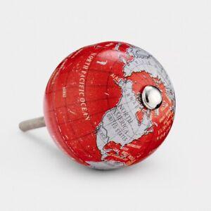 Vintage Red & Grey Globe World Map Cupboard Drawer Pull Handle Door Knob