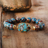 Natural Turquoise Jasper Healing Gemstone Geode Elastic Stacking Bracelet