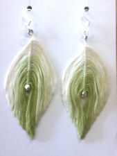 Ombre Inspired Jewelry White & Green Feather Earrings Super Cute! Silver Dangle